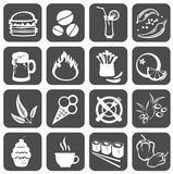 Food symbols. Sixteen  food symbols isolated on a black background Stock Images