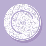 Food symbols. Plate with image of food symbols stock illustration