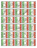 Food symbols italian. Squares with the italian colors, a curved black line around and food symbols Stock Images
