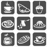 Food symbols set. Nine ornate food symbols on a black background Royalty Free Stock Photo