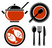 Food symbols set Stock Photo
