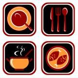 Food symbols set. Stylized food symbols set isolated on a white background Royalty Free Stock Photography