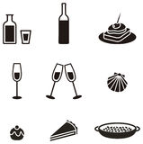 Food symbols. Several food simple pictogram in black color Stock Photography