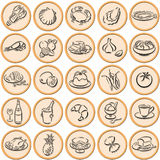 Food symbols shadowed. Round orange colored circles with plastic border and black shadowed food symbols Royalty Free Stock Photos