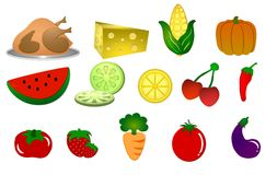 Food symbols on white background Royalty Free Stock Image