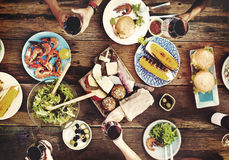 Food Table Delicious  Meal Prepare Cuisine Concept.  Royalty Free Stock Photography