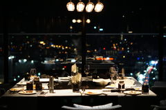 The food table of dinner. after Romantic dinner table. The food table of dinner at romantic night on valentine day.  the empty food table after dinner Royalty Free Stock Photography