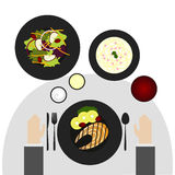 Food on table flat top Style royalty free stock image