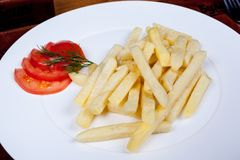 Food on the table. Fried potatoes with tomatoes on a plate Stock Image