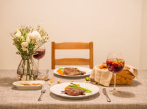 The food on the table and wine. Indoor shooting stock photo
