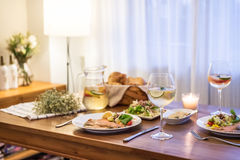 The food on the table and wine stock images