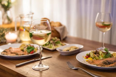 The food on the table and wine. Indoor shooting stock images
