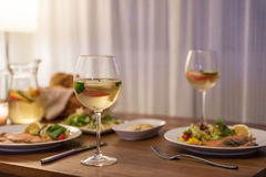 The food on the table and wine stock image