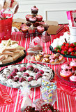 Food table of yummy treats Royalty Free Stock Photos
