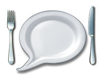 Food Talk. Concept with a word bubble or talk speech message with a white blank ceramic kitchen plate shaped as a comic book communication icon with a fork and stock illustration