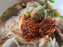 Food taste spicy hot, Beef ball noodles, Thai Asia food hot spicy noodle. Spicy Food taste hot, Beef ball noodles, Thai Asia food hot spicy noodle Stock Images