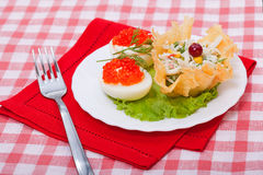 Food - tasty course with red caviar Royalty Free Stock Image