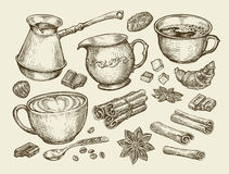 Free Food, Tea, Coffee. Hand Drawn Cup, Cinnamon, Anise, Creamer, Teaspoon, Croissant, Sugar, Beans, Chocolate, Candy, Turk Stock Image - 73721091