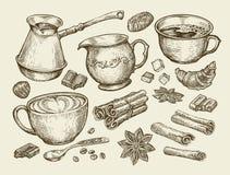 Food, tea, coffee. Hand drawn cup, cinnamon, anise, creamer, teaspoon, croissant, sugar, beans, chocolate, candy, turk Stock Image