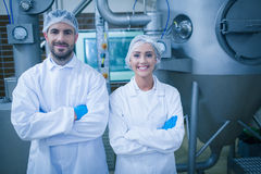 Food technicians smiling at camera Stock Images