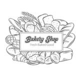 Food template banners with bread. Food template banner frame with bread product. Hand drawn sketch rye and wheat bread, croissant, whole grain bread, bagel vector illustration