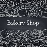 Bakery. Food template page design for bakery, chalkboard style . Hand drawn sketch rye and wheat bread, croissant. Whole grain bread, bagel, toast bread, french Royalty Free Stock Images