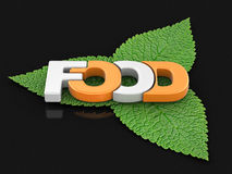 Food text on leaves Royalty Free Stock Images