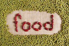 Food text made by group of beans and lentils Royalty Free Stock Photography