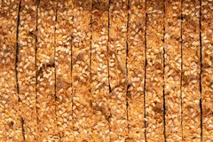 Sprouted Grains Bread Texture. Food texture background of bread made with freshly sprouted organic grains , top view royalty free stock photos