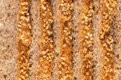 Sprouted Grains Bread Texture. Food texture background of bread made with freshly sprouted organic grains , top view stock photography