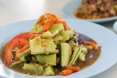 Food thaifood. Cucumber salad tomato shrimp nut chili Stock Photo