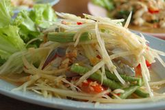 Papaya salad in Thailand. Food in Thailand. yum or som tum. background Royalty Free Stock Photos