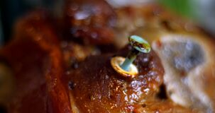 Food thermometer in baked meat closeup. Food thermometer in baked meat 4k stock video