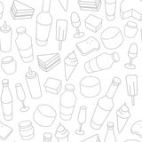 Food thin line icon seamless pattern. Beer, wine bottle, cheese, ice-cream, toast, egg, cake icons on white background royalty free illustration