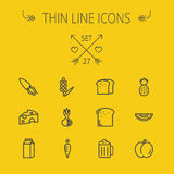 Food thin line icon set Stock Image
