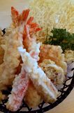 Food for Thought - Prawn Tempura. A close-up view of an order of freshly deep-fried prawn and vegetable tempura served up in a fine dining restaurant at Skudai stock photo