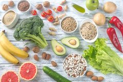 Food for Thrive diet. On the wooden background stock photo