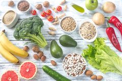 Food for Thrive diet. On the wooden background stock images
