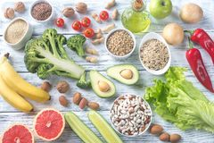 Food for Thrive diet. On the wooden background royalty free stock photos