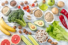 Food for Thrive diet. On the wooden background royalty free stock images