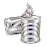 Food tin cans. Opened and closed food tin cans royalty free illustration
