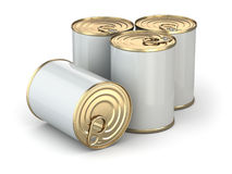 Food tin cans on white  background. Royalty Free Stock Photo