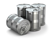 Food tin cans on white isolated background. Royalty Free Stock Photo