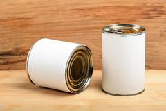 Food tin cans Royalty Free Stock Images