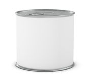 Food tin. One food tin for meat or fish with a white label (3d render Royalty Free Stock Photos