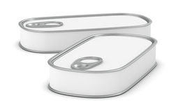 Food tin. Two food tins for meat or fish with a white label (3d render Stock Photo