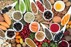 Food to Improve Brain Cognitive Functions. Health food to improve brain cognitive functions. Super foods concept very high in minerals, vitamins, antioxidants stock images