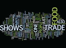 Food Trade Shows Text Background  Word Cloud Concept Stock Photos
