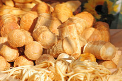 Food at the traditional street market. Traditional Polish smoked cheese known as oscypek at the market Royalty Free Stock Photo