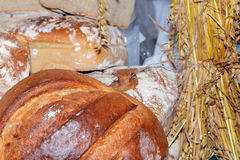 Food at the traditional street market. Freshly baked bread at the street market Royalty Free Stock Photo